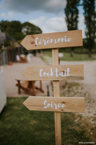 panneaux directionnels pour informer les invités des différents temps forts du mariage