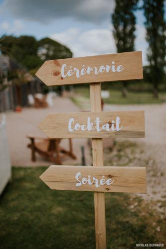 panneaux directionnels pour indiquer aux invités les différents temps du mariage, Homemade for Love