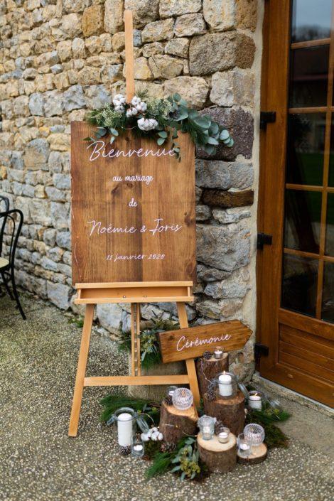 panneau de bienvenue, mariage d'hiver, Homemade for Love, décoratrice de mariage en Normandie