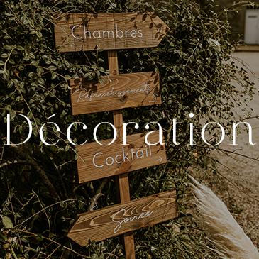 Location de décoration mariage, catégorie décoration